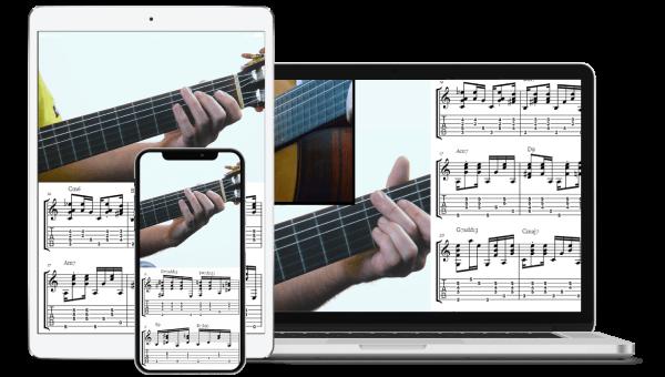 Tribal Fingerpicking Interactive on-screen Notation